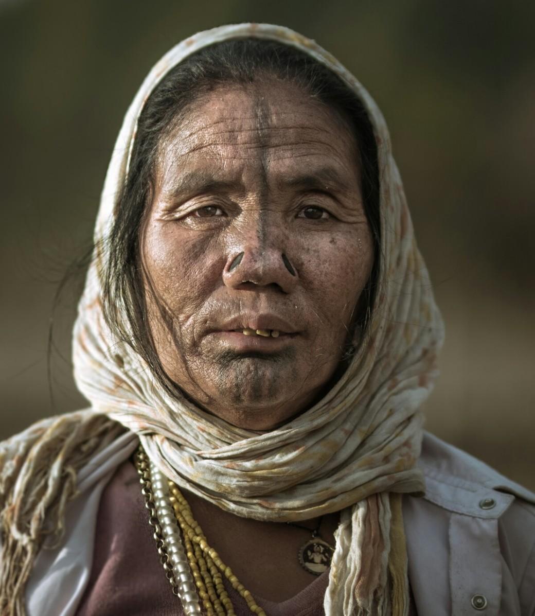 Apatani tribeswoman India headscarf