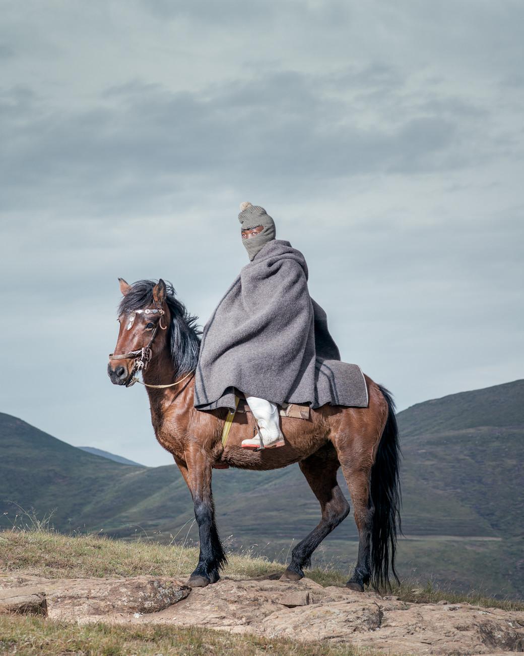 Lesotho horsemen shepherd purple cape