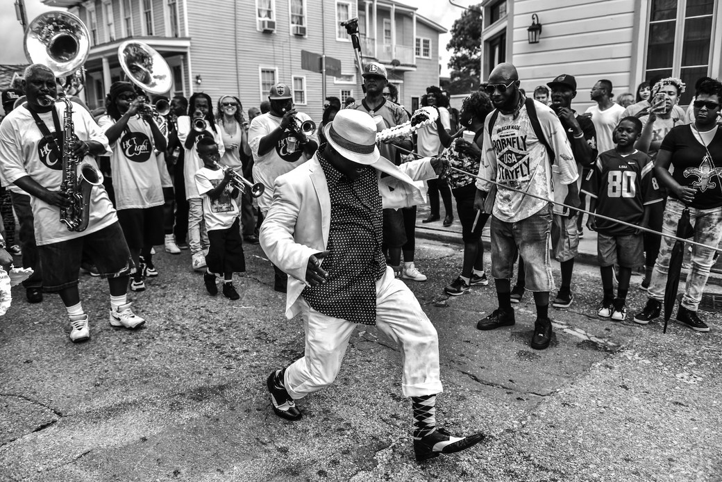 New Orleans Second Line strutting man