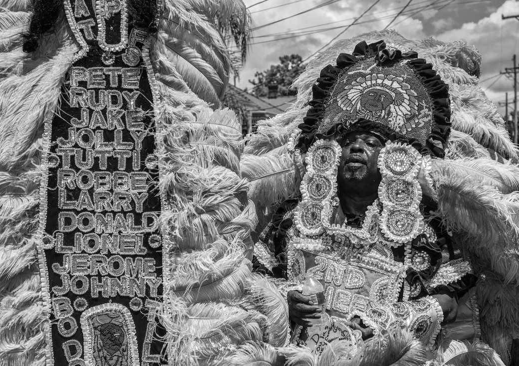 New Orleans man feather costume Second Line