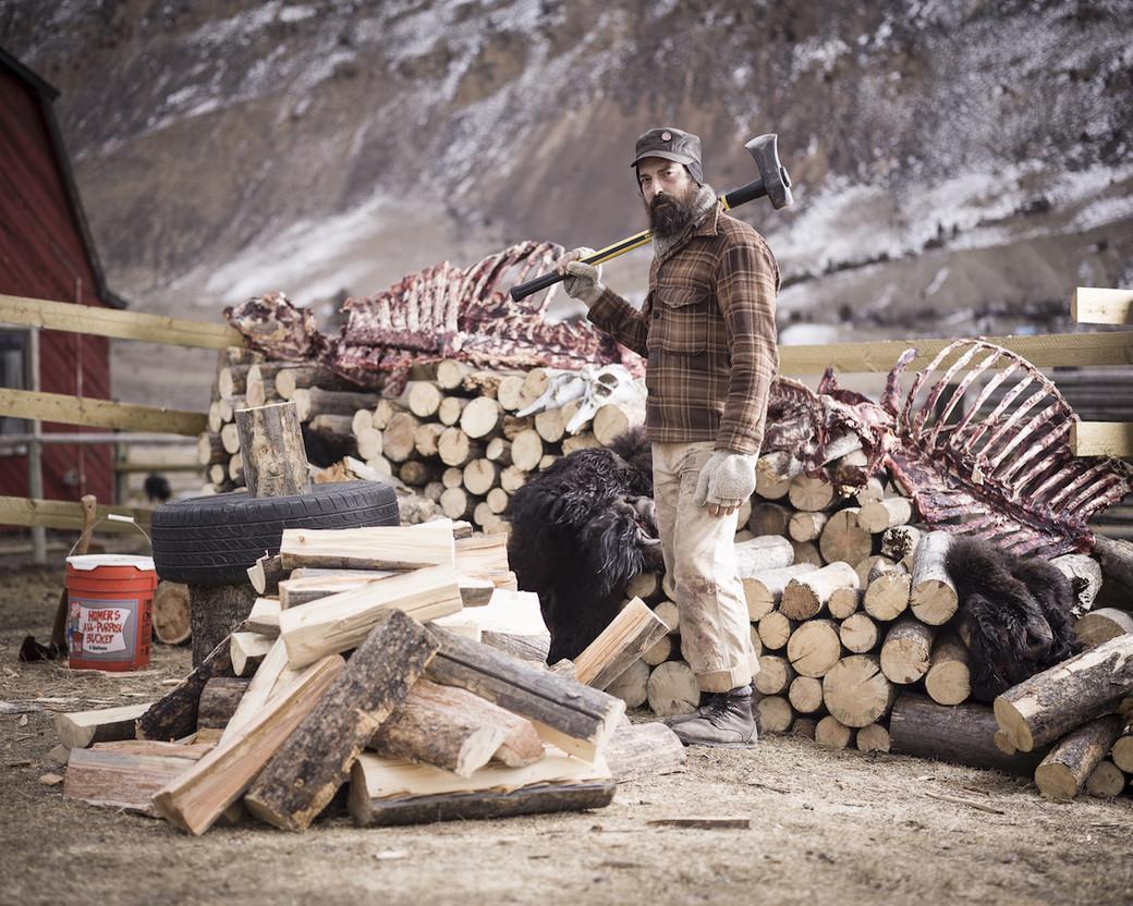Yellowstone Montana buffalo hunt camp wood