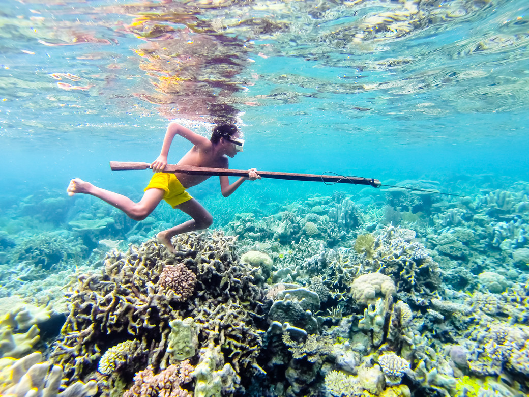 Bajau sea gypsy spearfishing Indonesia