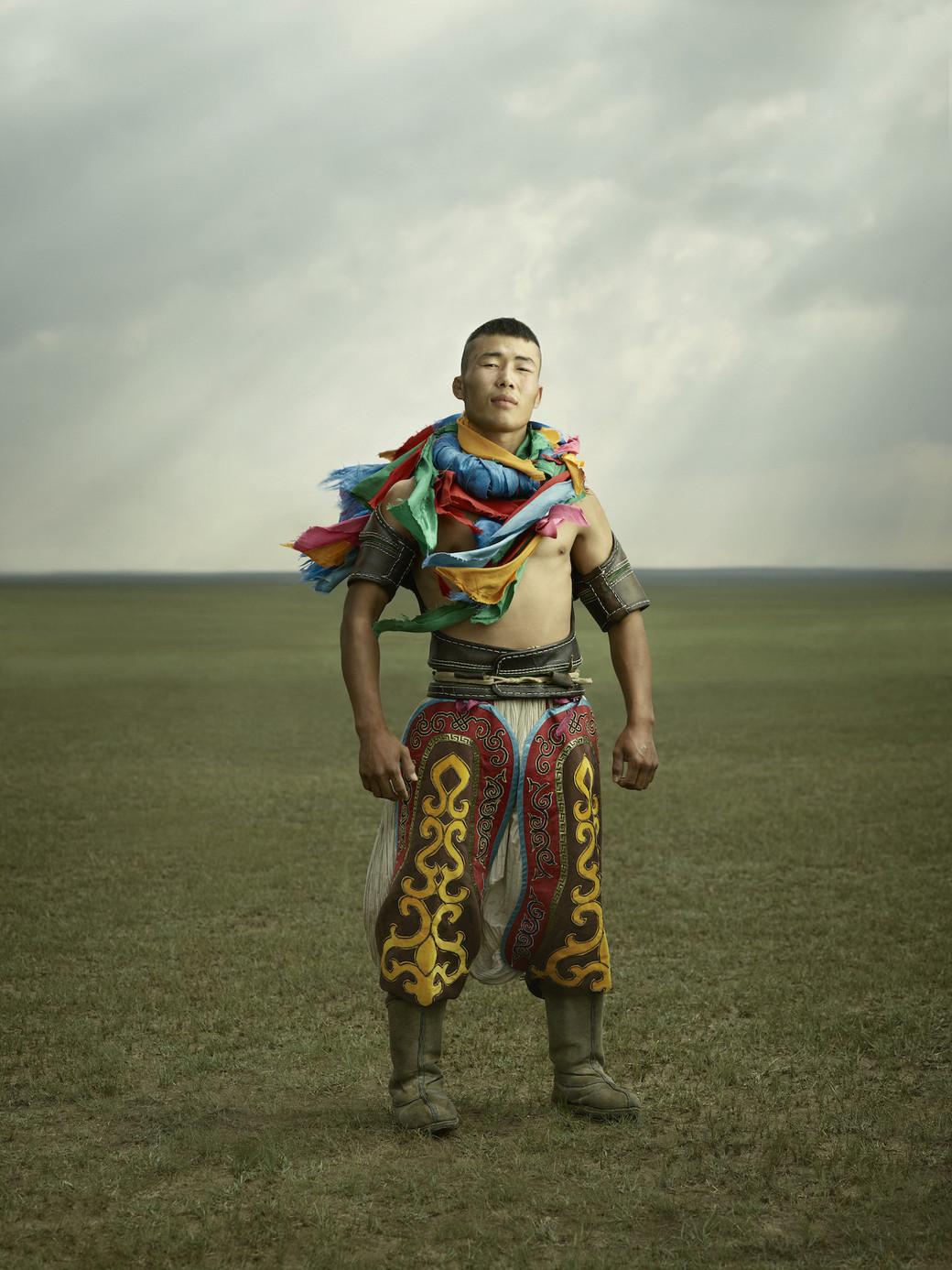 Mongolia wrestling pants portrait young man