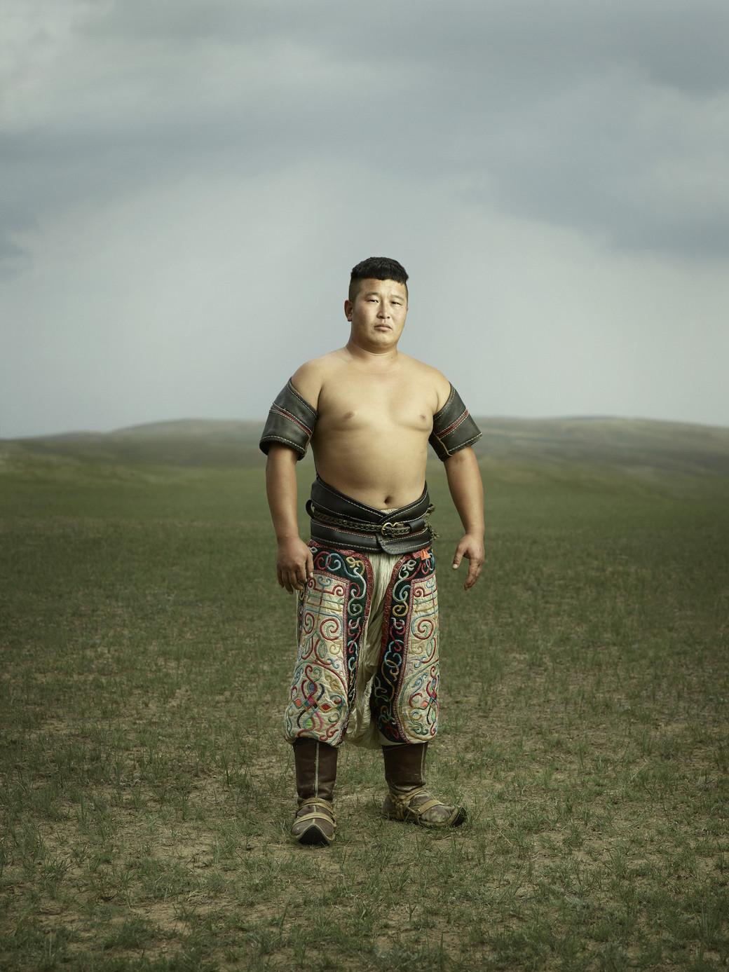 Mongolia wrestling Bokh portrait young man