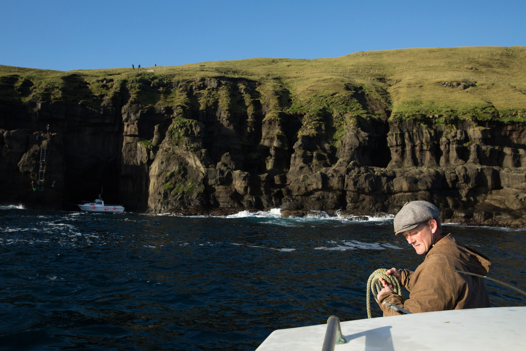 Faroe Islands sheep muster boat cliffs